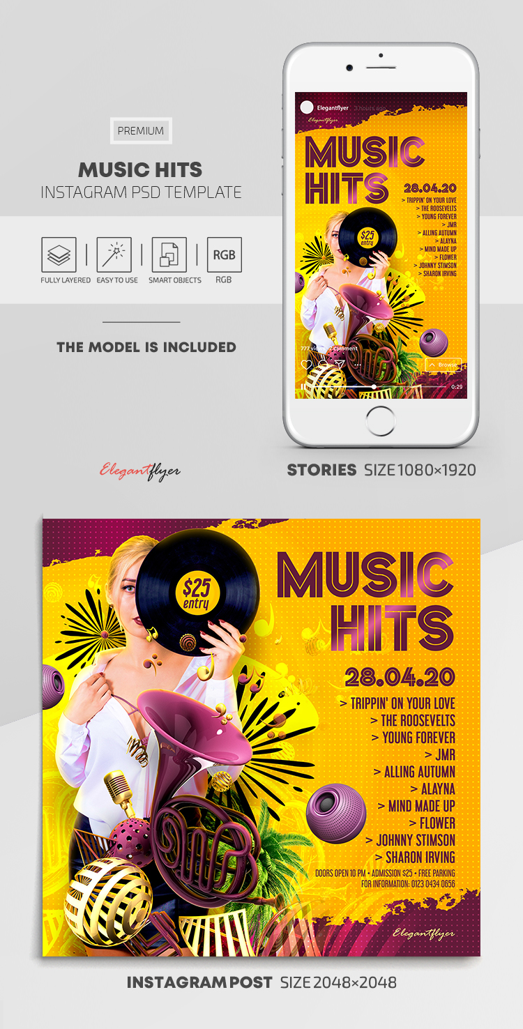 Music Hits – Instagram Stories Template in PSD + Post Templates