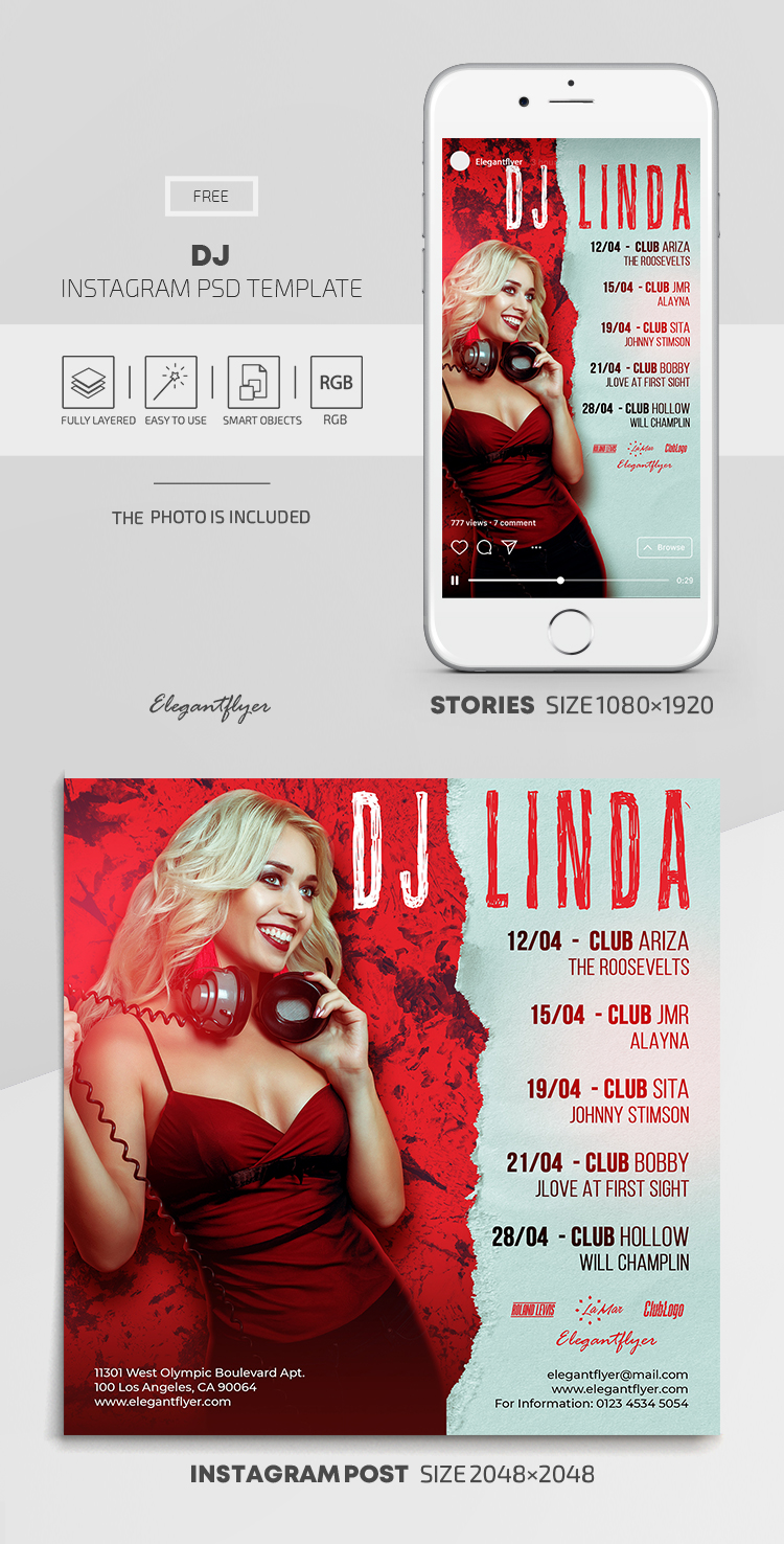 DJ – Free Instagram Stories Template in PSD + Post Templates