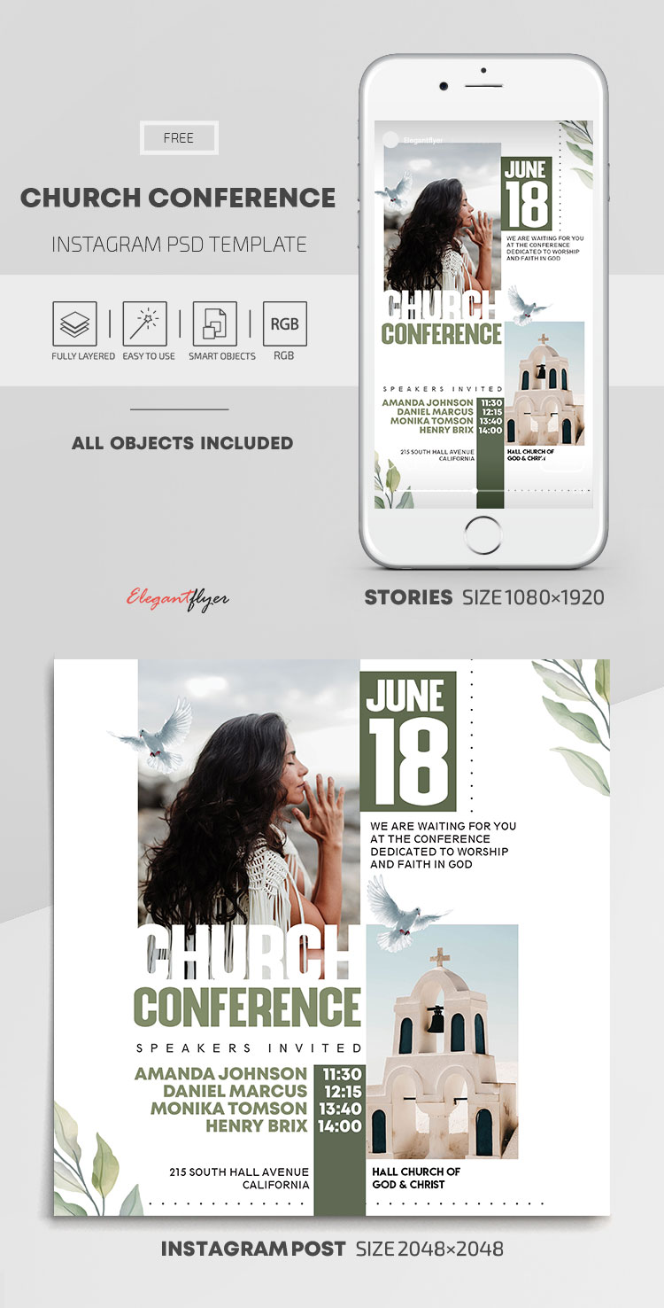 Church Conference – Free Instagram Stories Template in PSD + Post Templates