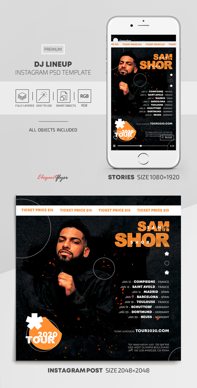 DJ Lineup – Instagram Stories Template in PSD + Post Templates