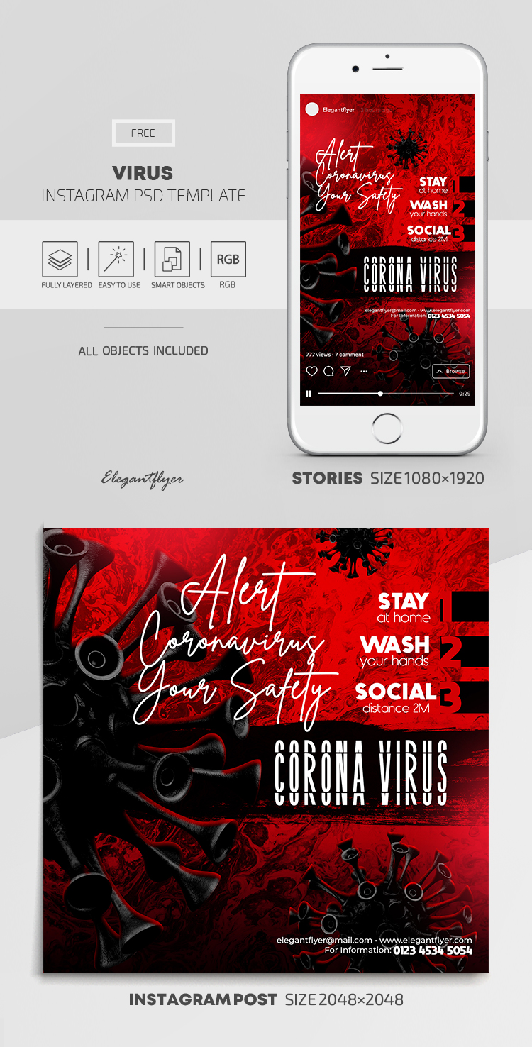 Virus – Free Instagram Stories Template in PSD + Post Templates
