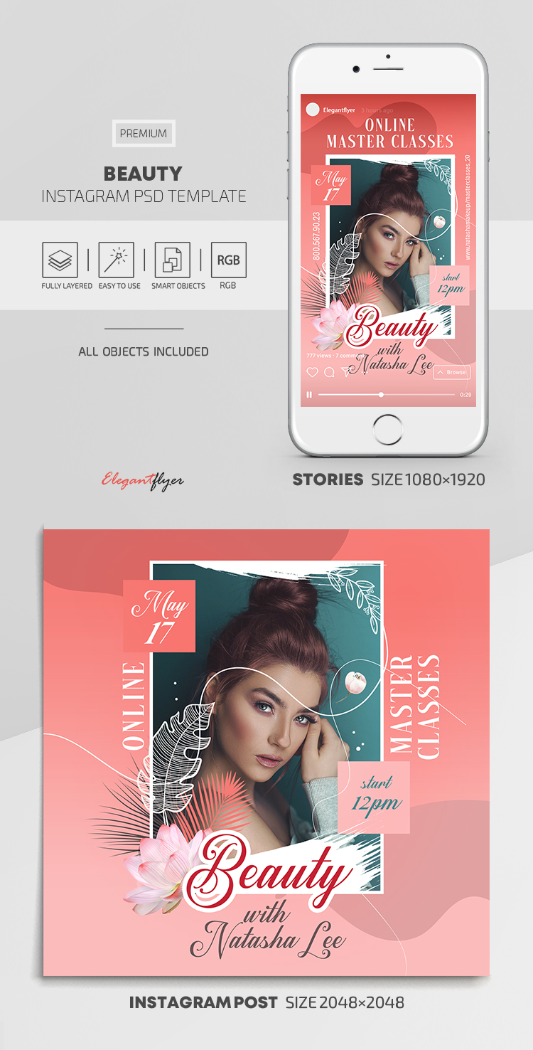 Beauty – Instagram Stories Template in PSD + Post Templates