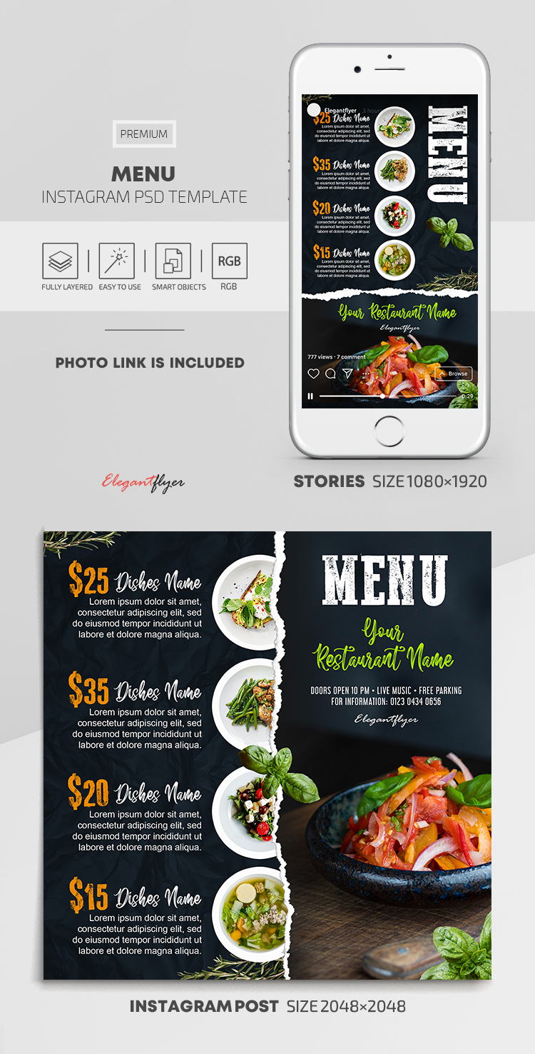 Menu – Instagram Stories Template in PSD + Post Templates