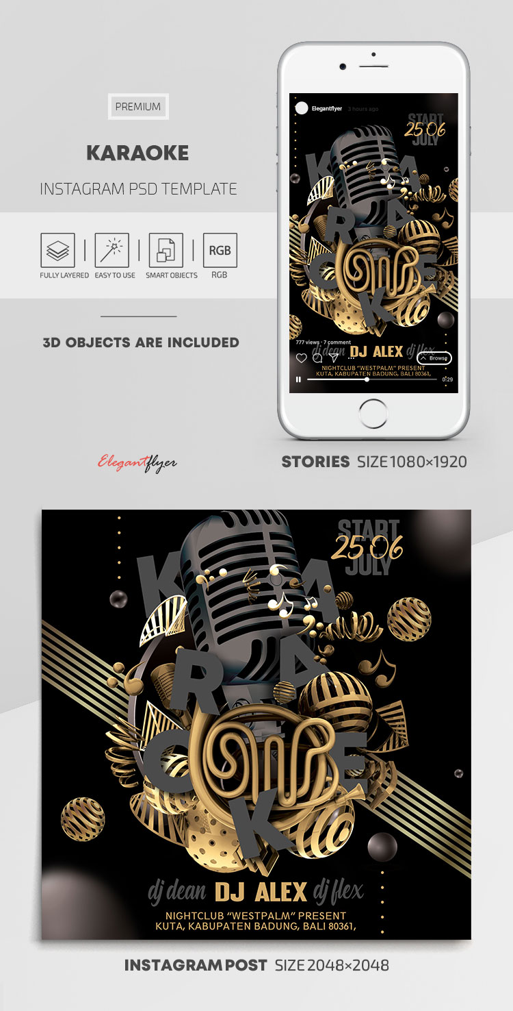 Karaoke – Instagram Stories Template in PSD + Post Templates