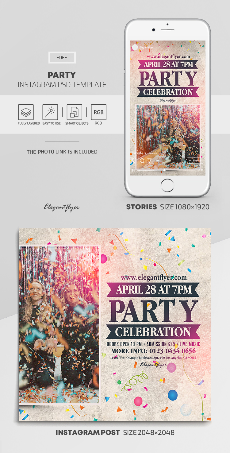 Party – Free Instagram Stories Template in PSD + Post Templates