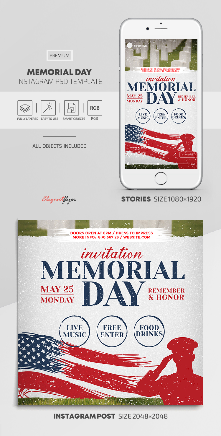Memorial Day – Instagram Stories Template in PSD + Post Templates