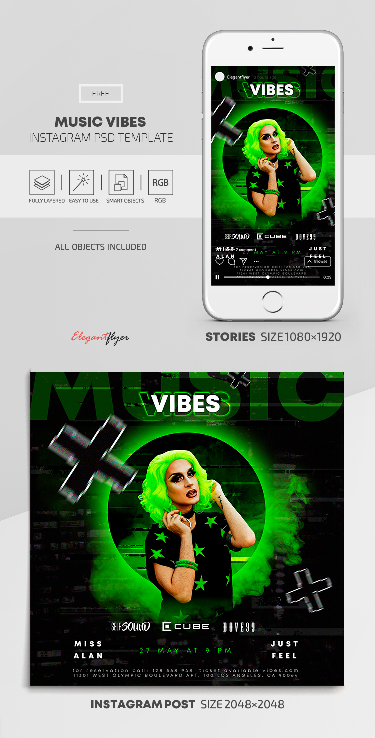 Music Vibes – Free Instagram Stories Template in PSD + Post Templates