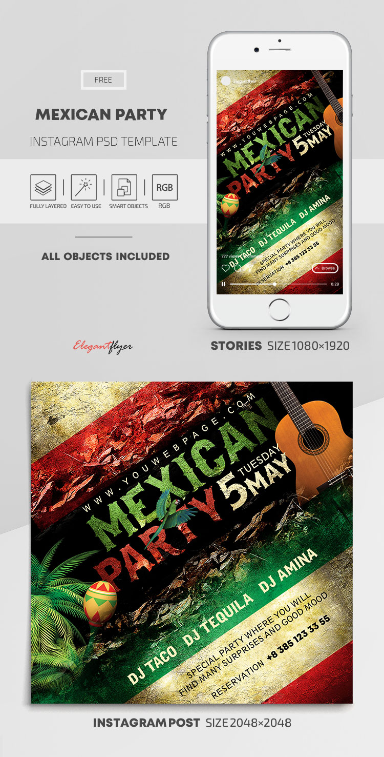 Mexican Party – Free Instagram Stories Template in PSD + Post Templates