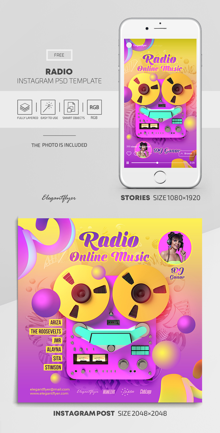 Radio – Free Instagram Stories Template in PSD + Post Templates