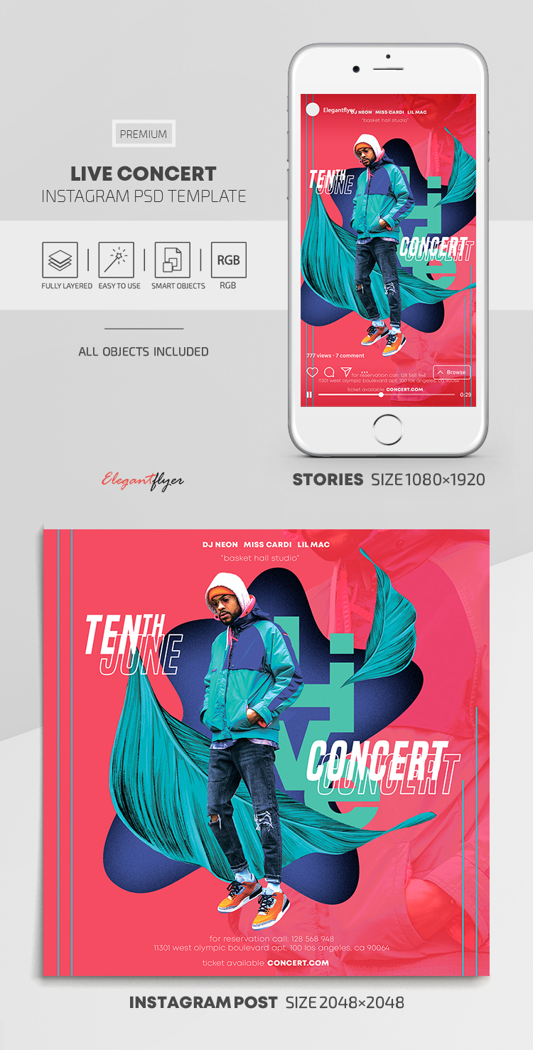 Live Concert – Instagram Stories Template in PSD + Post Templates