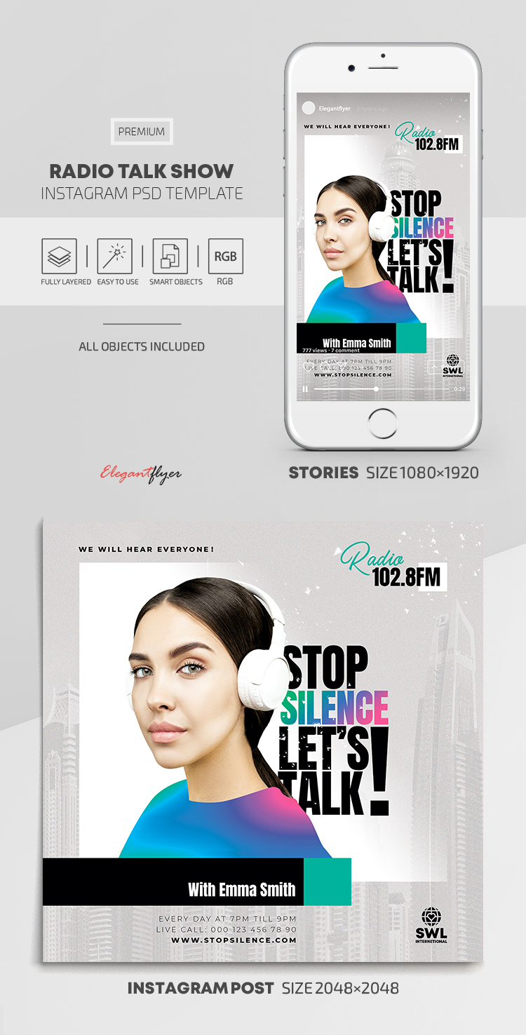 Radio Talk Show – Instagram Stories Template in PSD + Post Templates
