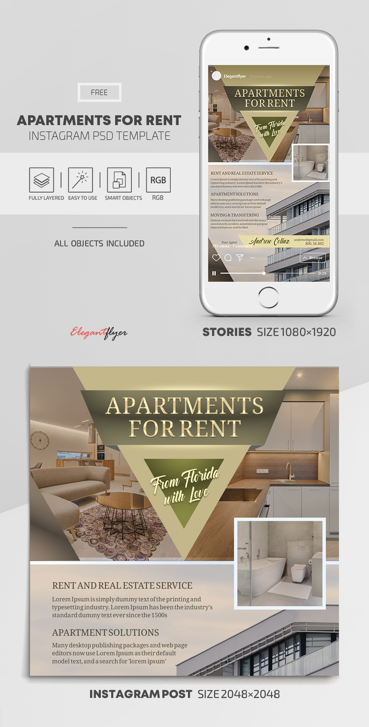 Apartments For Rent – Free Instagram Stories Template in PSD + Post Templates