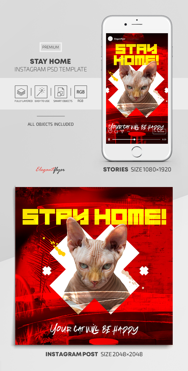 Stay Home – Instagram Stories Template in PSD + Post Templates