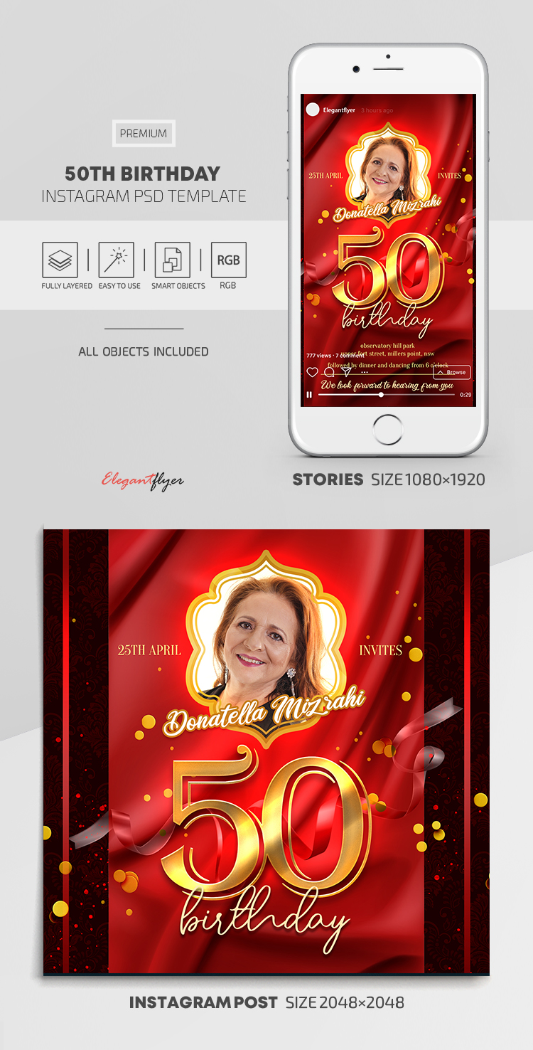 50th Birthday – Instagram Stories Template in PSD + Post Templates