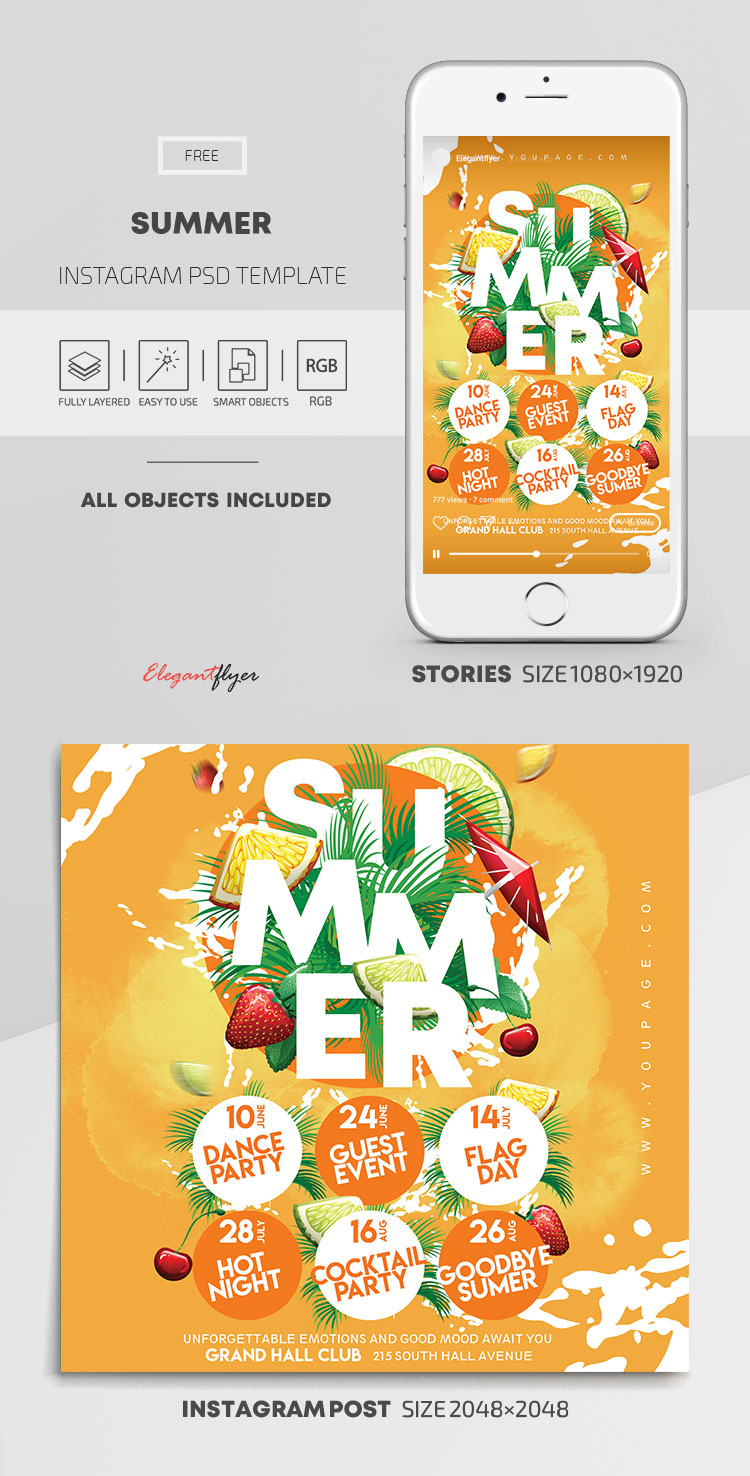 Summer – Free Instagram Stories Template in PSD + Post Templates