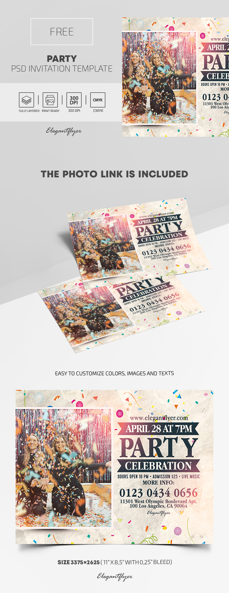 Party – Free PSD Invitation Template