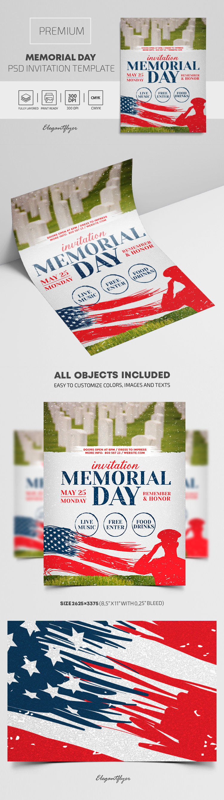 Memorial Day – Premium PSD Invitation Template