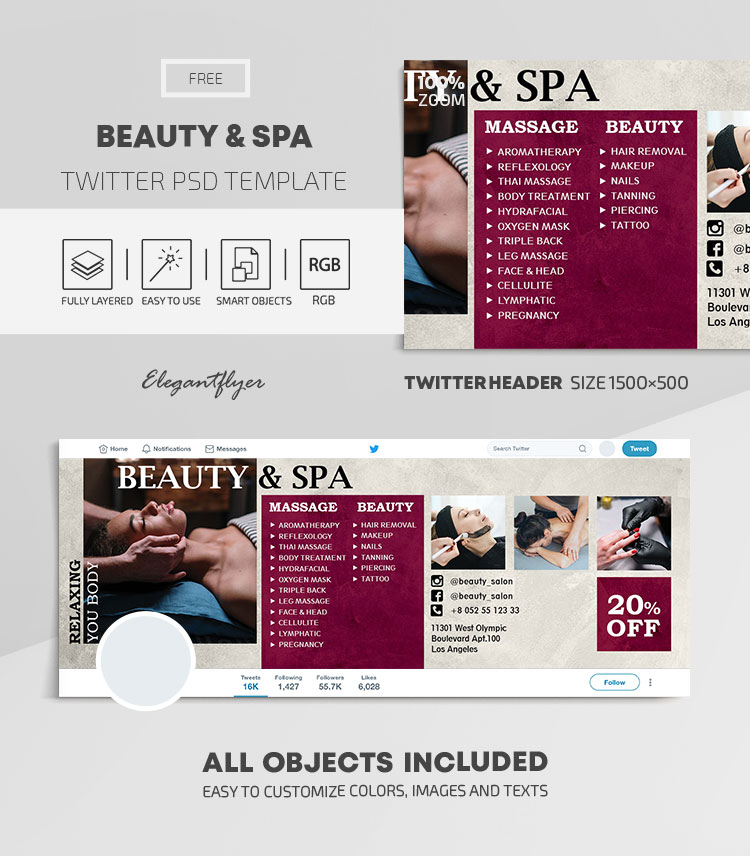 Beauty and Spa – Free Twitter Header PSD Template