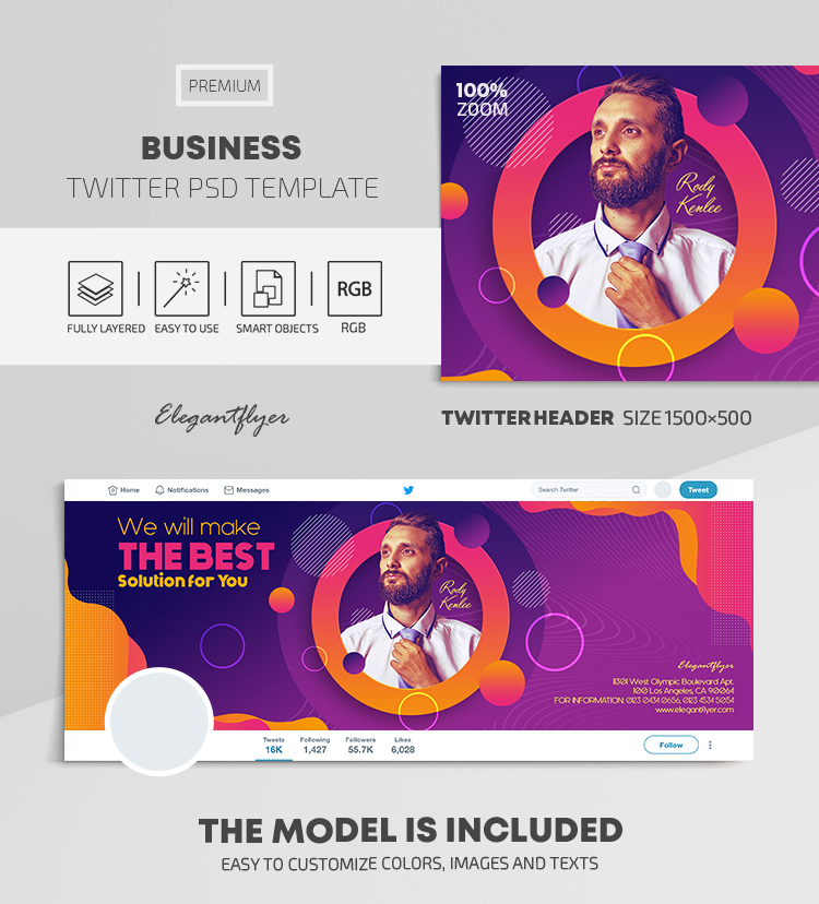Business – Twitter Header PSD Template
