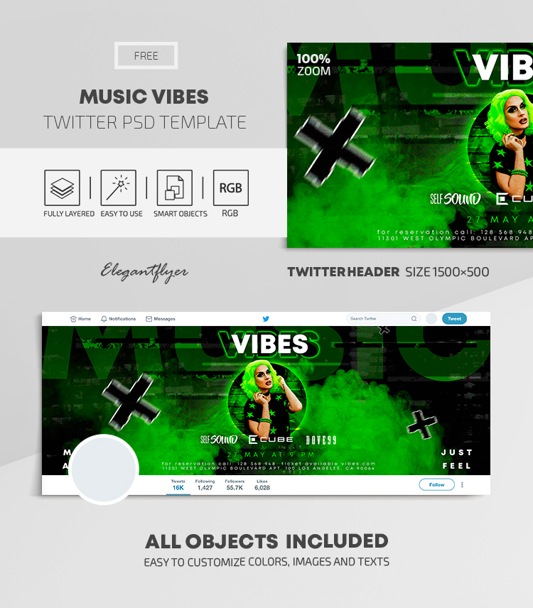 Music Vibes – Free Twitter Header PSD Template