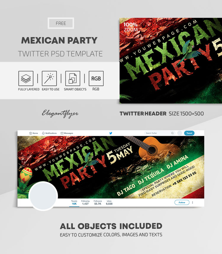 Mexican Party – Free Twitter Header PSD Template
