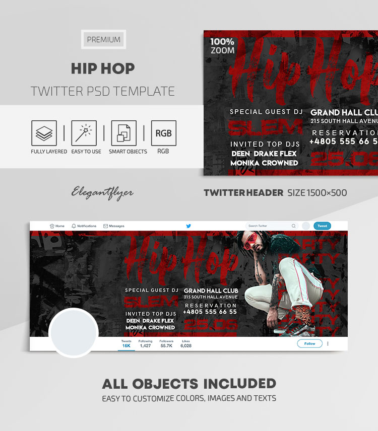Hip Hop – Twitter Header PSD Template