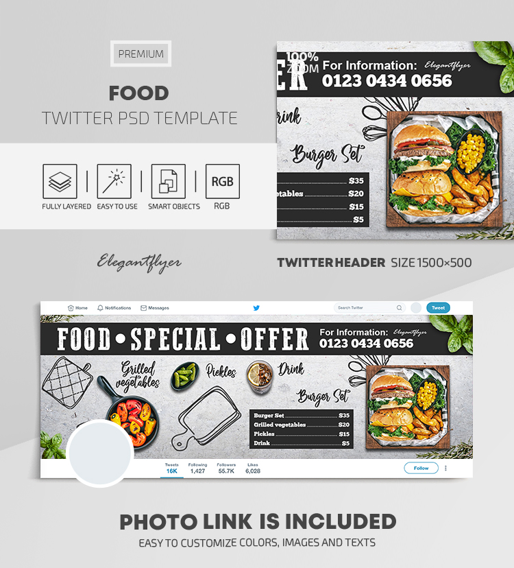 Food – Twitter Header PSD Template