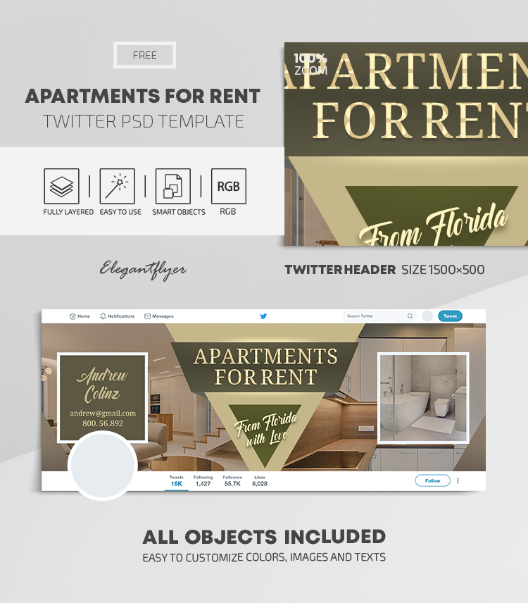 Apartments For Rent – Free Twitter Header PSD Template