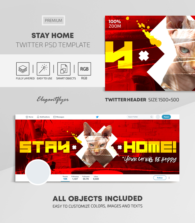 Stay Home – Twitter Header PSD Template