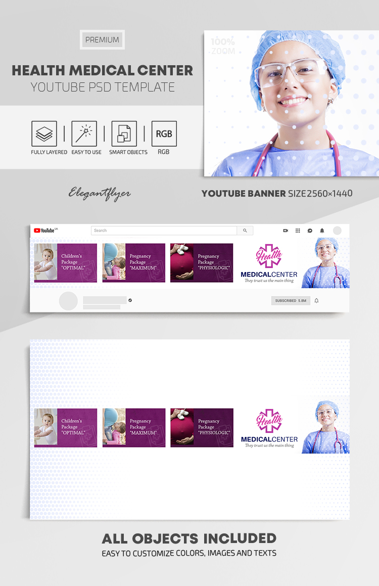Health Medical Center – Youtube Channel banner PSD Template