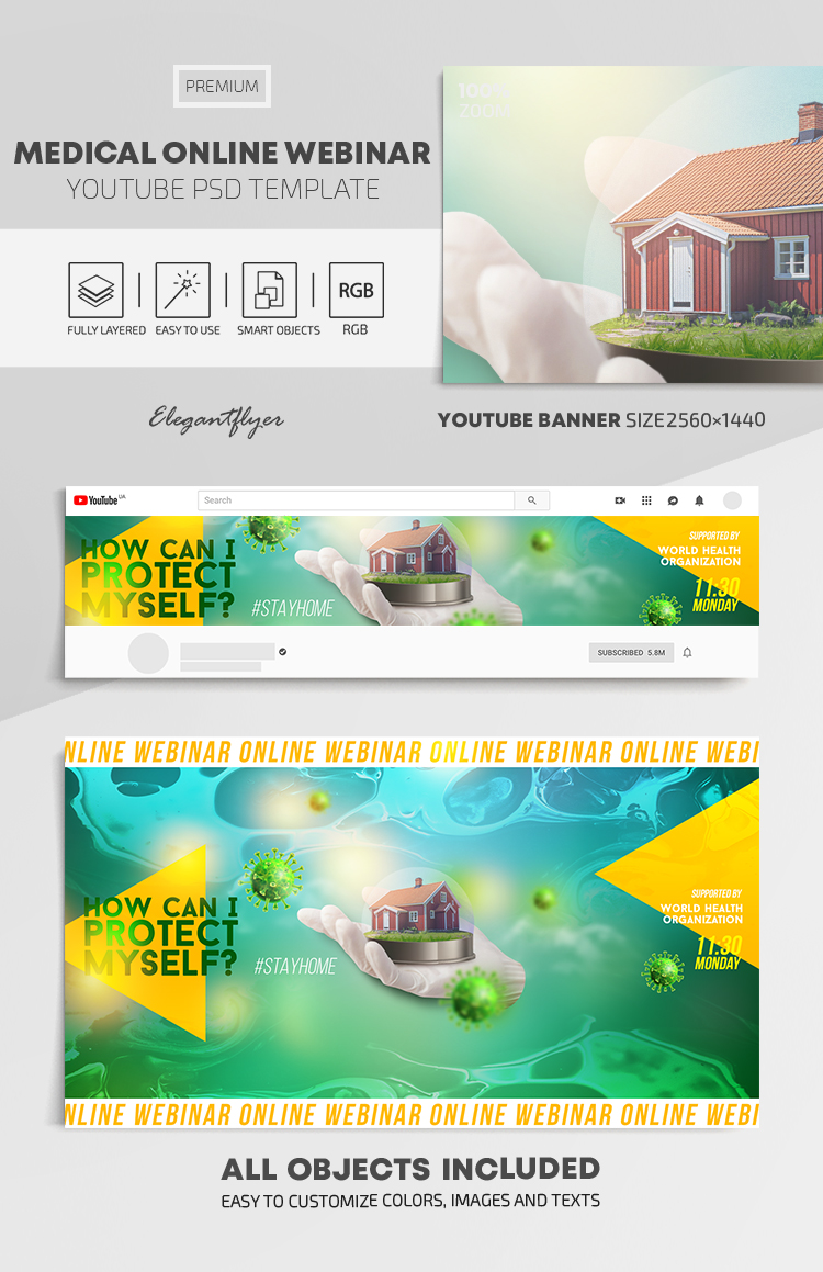 Medical Online Webinar – Youtube Channel banner PSD Template