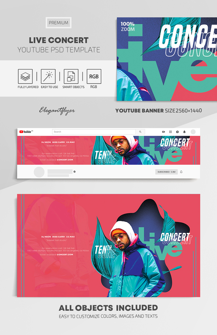 Live Concert – Youtube Channel banner PSD Template