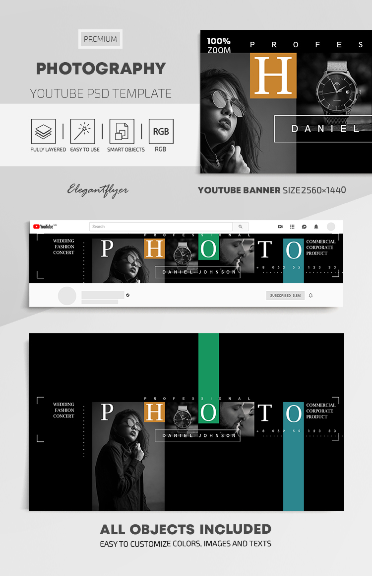 Photography – Youtube Channel banner PSD Template
