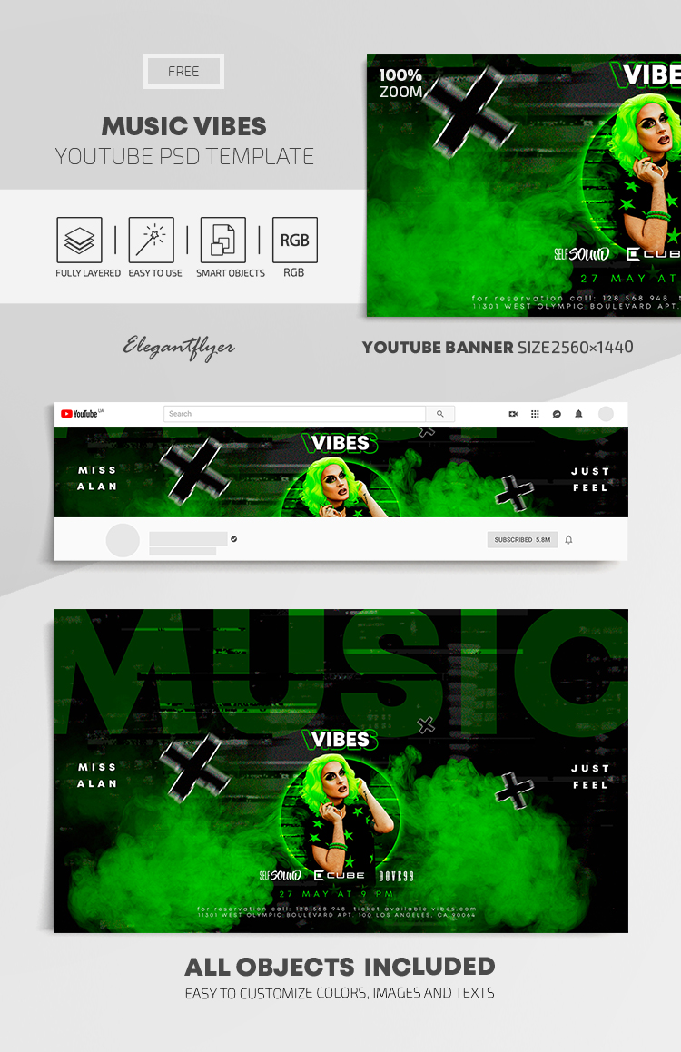 Music Vibes – Free Youtube Channel banner PSD Template