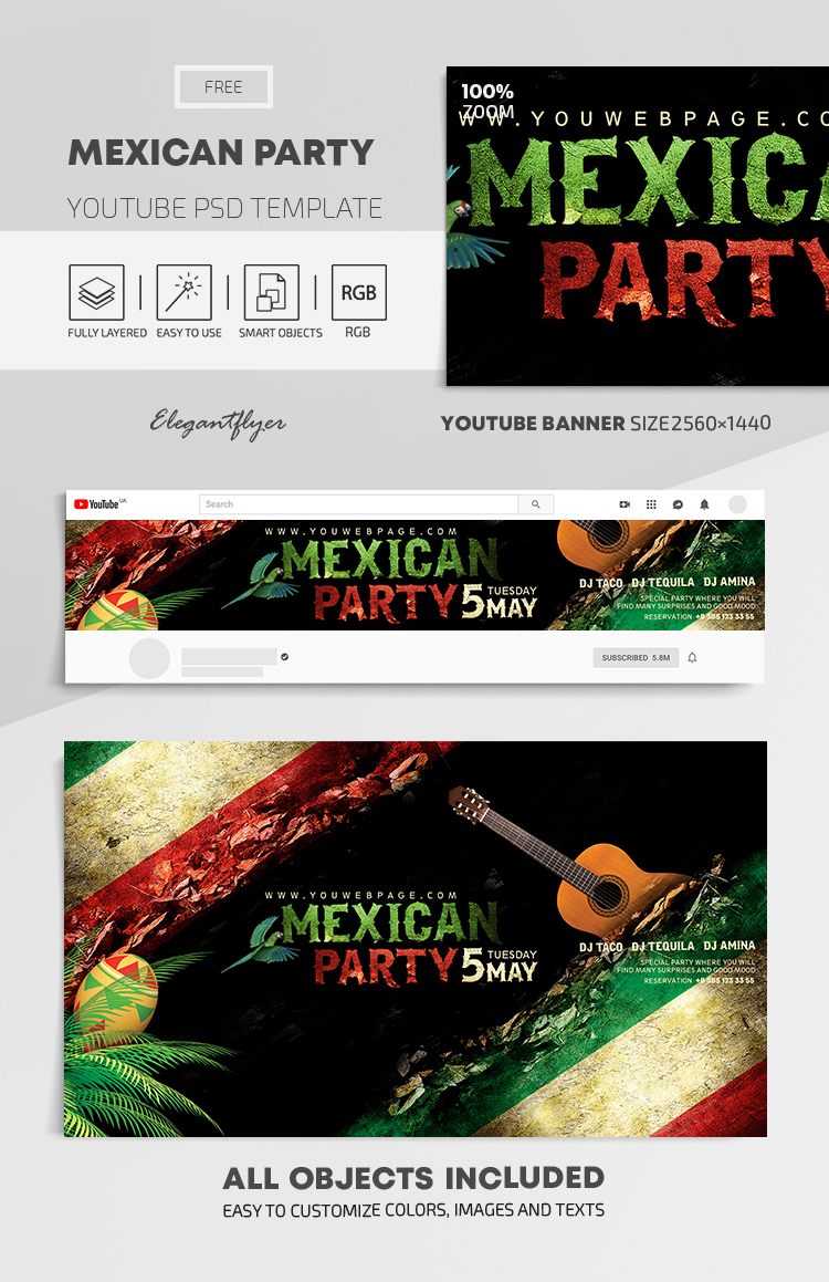 Mexican Party – Free Youtube Channel banner PSD Template