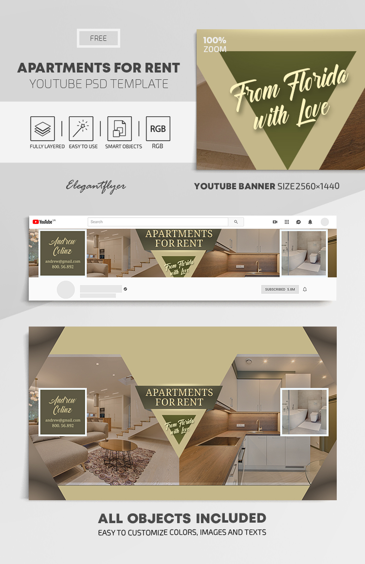 Apartments For Rent – Free Youtube Channel banner PSD Template