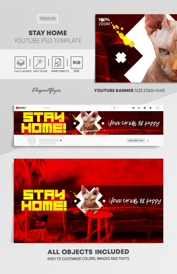 Stay Home – Youtube Channel banner PSD Template