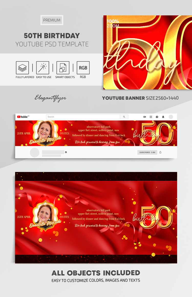 50th Birthday – Youtube Channel Banner PSD Template