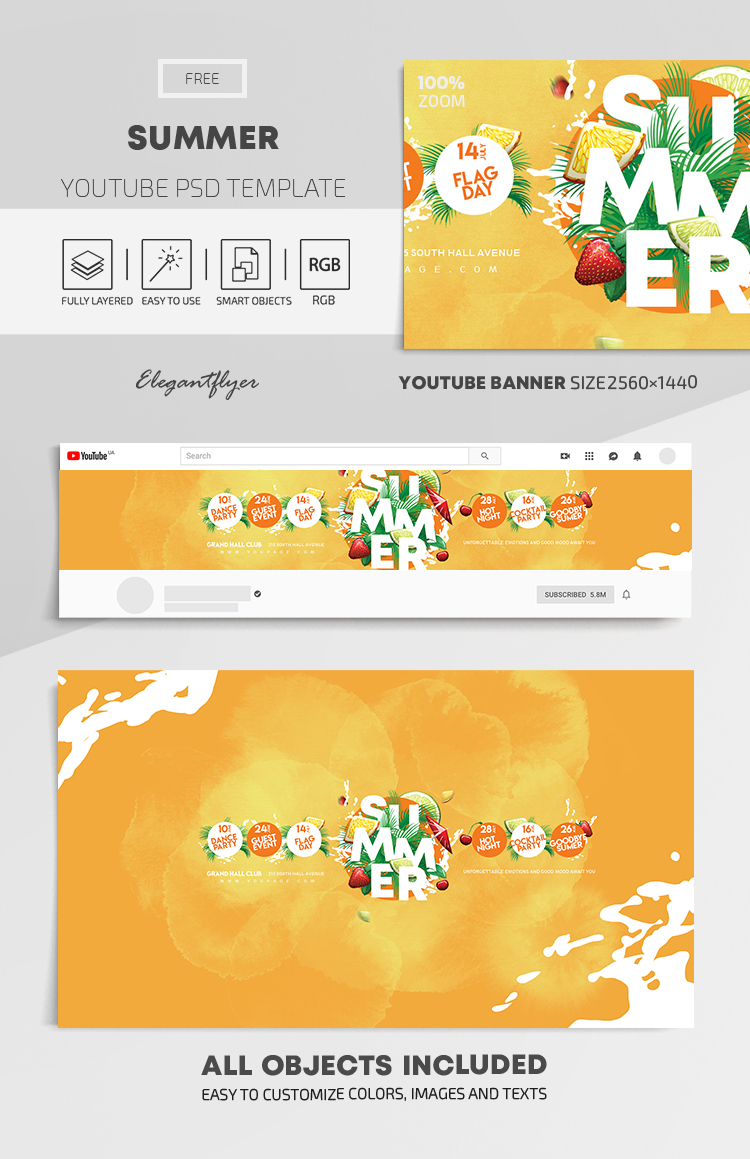 Summer – Free Youtube Channel banner PSD Template
