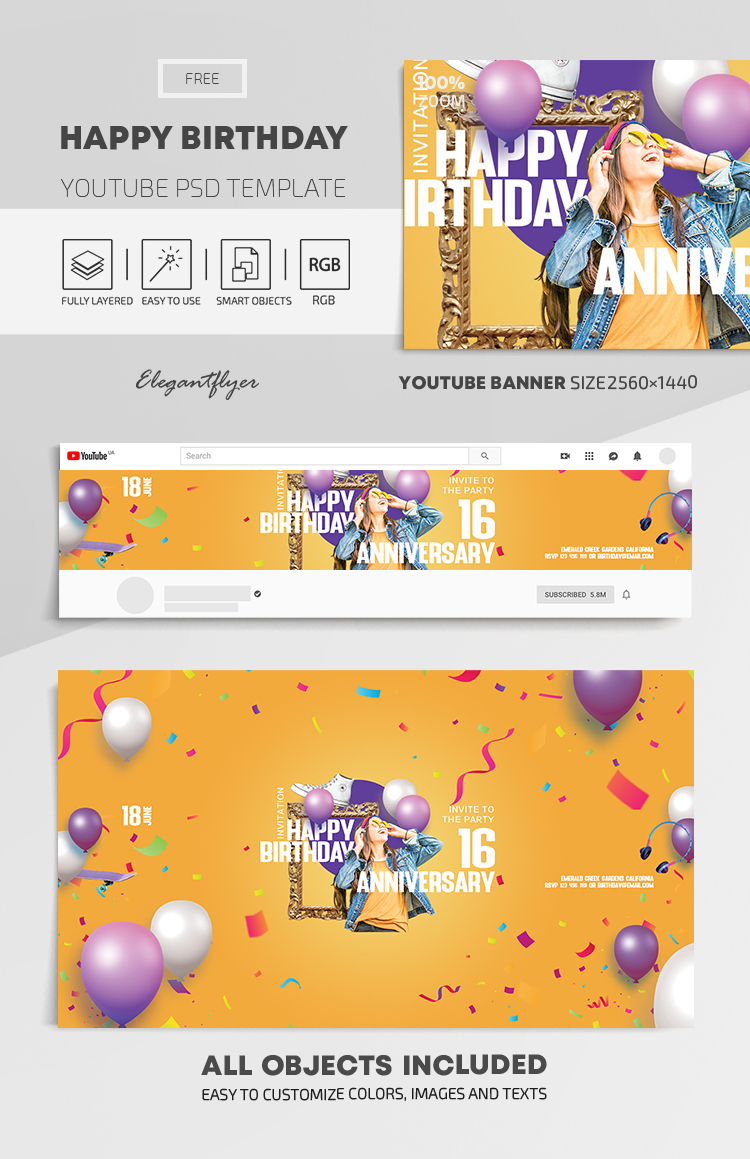 Happy Birthday – Free Youtube Channel banner PSD Template