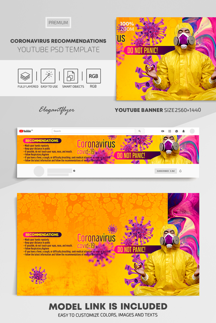 Coronavirus Recommendations – Youtube Channel banner PSD Template