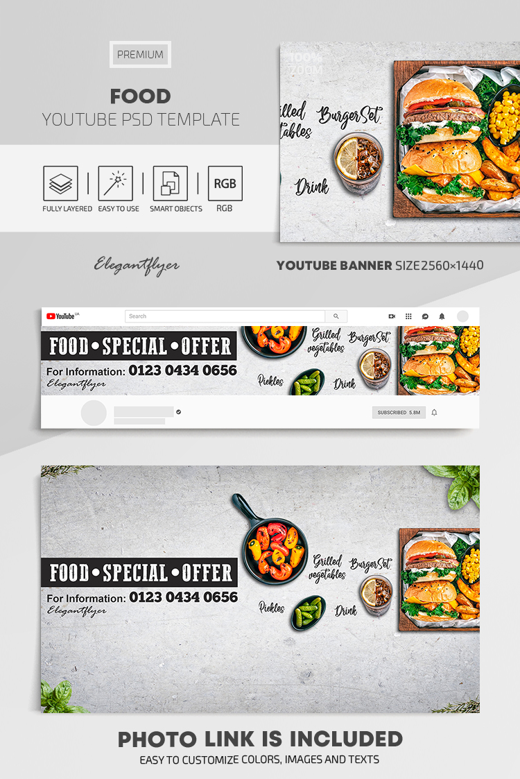 Food – Youtube Channel banner PSD Template