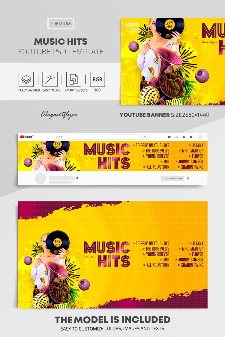 Music Hits – Youtube Channel banner PSD Template