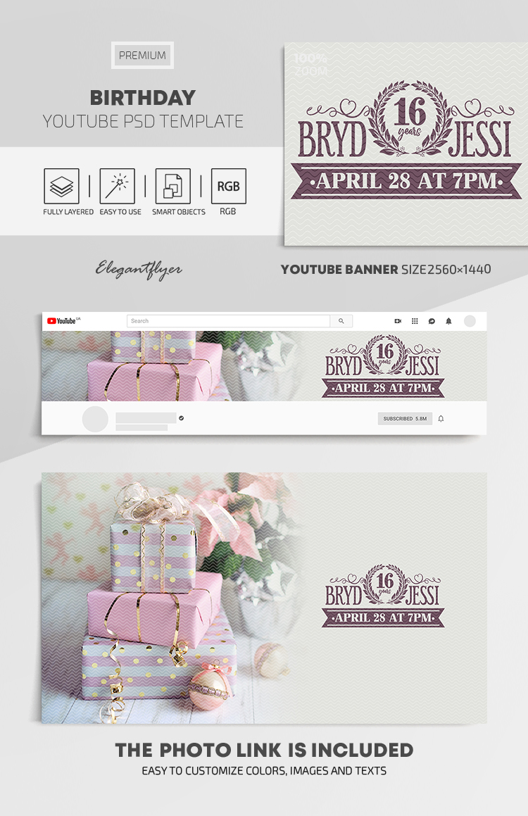 Birthday – Youtube Channel Banner PSD Template