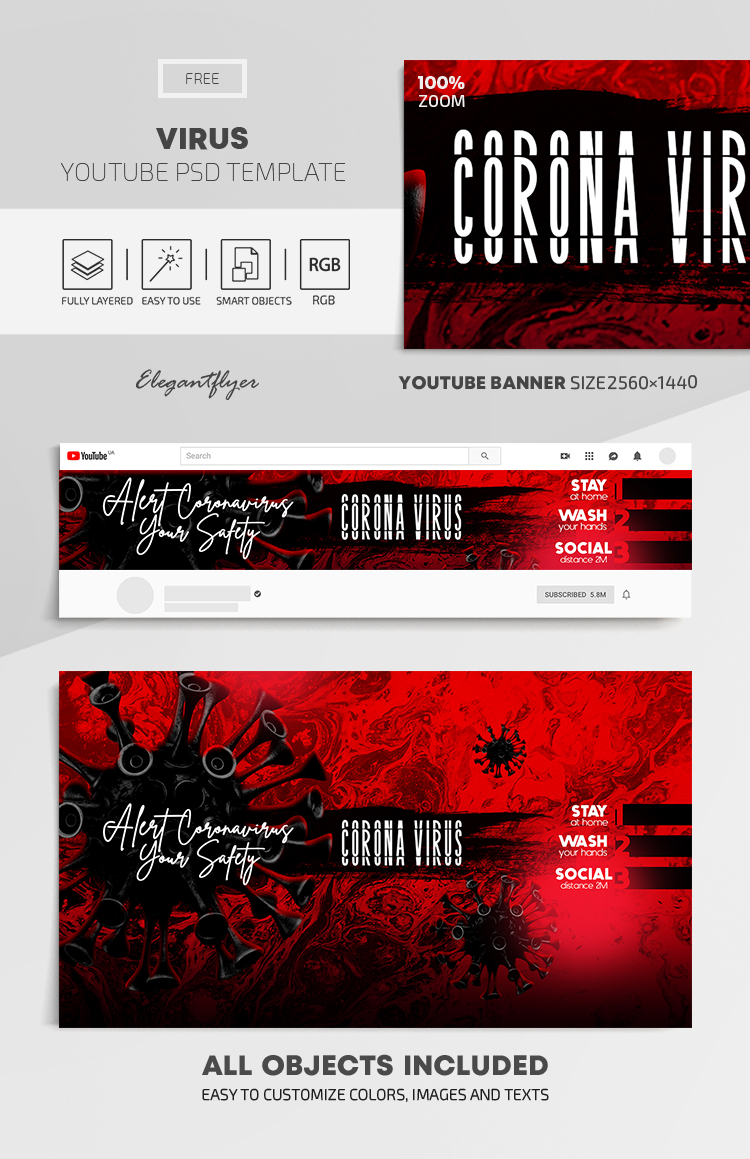 Virus – Free Youtube Channel banner PSD Template