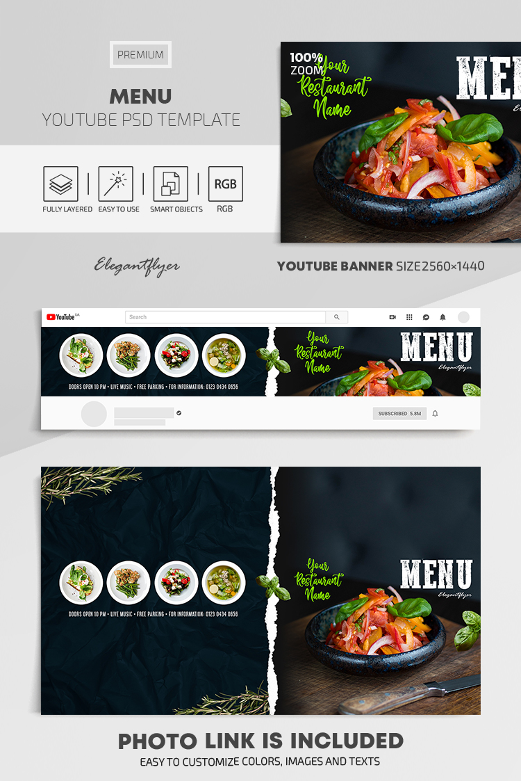 Menu – Youtube Channel banner PSD Template