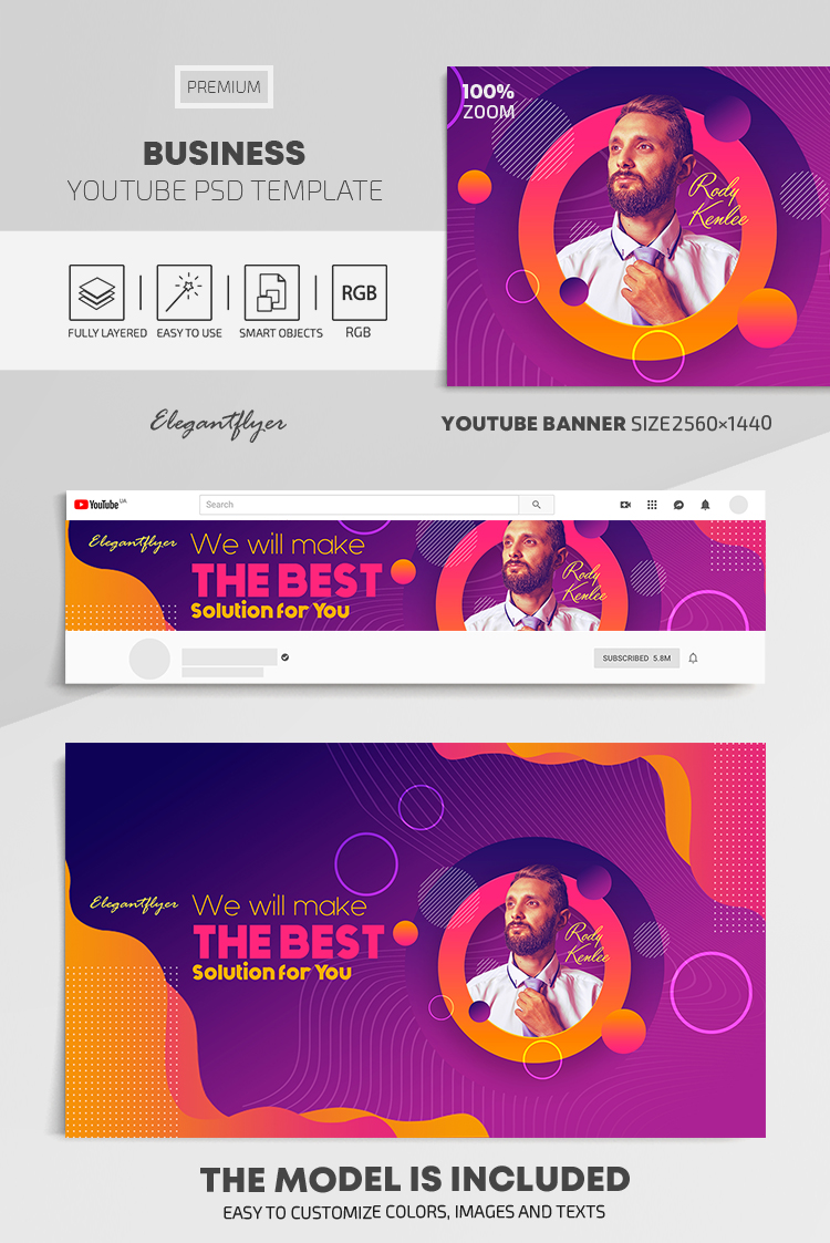 Business – Youtube Channel banner PSD Template