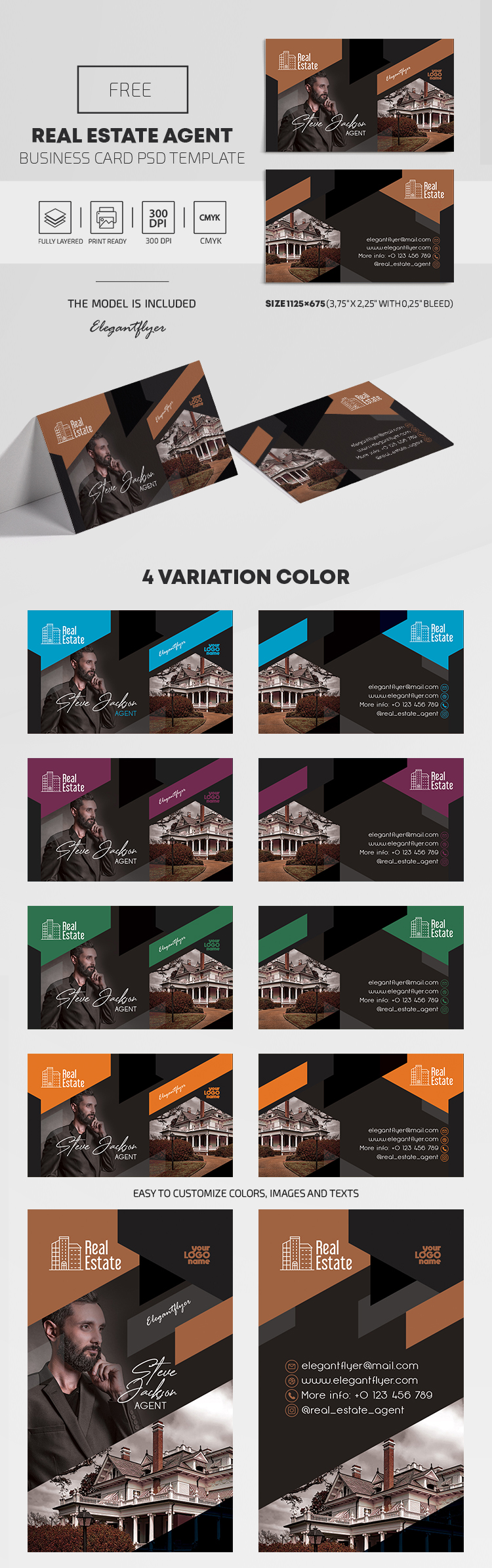 Real Estate Agent – Free PSD Business Card Template