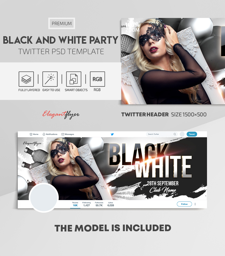 Black and White Party – Twitter Header PSD Template