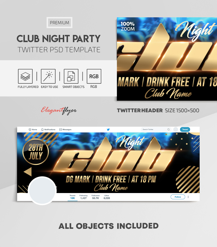 Club Night Party – Twitter Header PSD Template